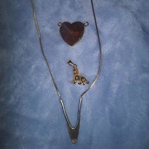 Vintage V necklace and 2 pendants